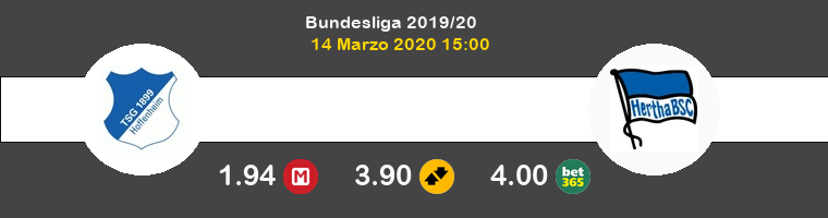 Hoffenheim Hertha Berlín Pronostico 14/03/2020 1