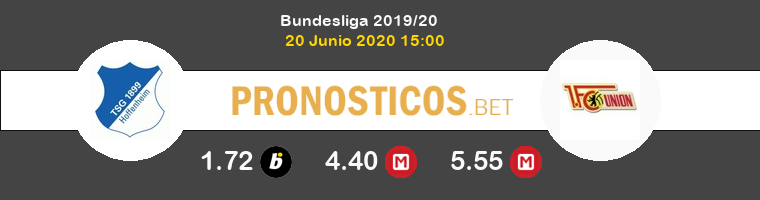 Hoffenheim FC Union Berlin Pronostico 20/06/2020 1