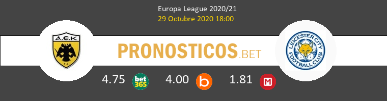 AEK Athens vs Leicester Pronostico (29 Oct 2020) 1