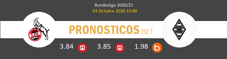 Colonia B. Mönchengladbach Pronostico 03/10/2020 1