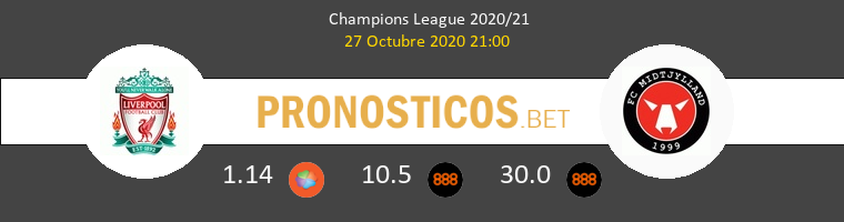 Liverpool vs Midtjylland Pronostico (27 Oct 2020) 1