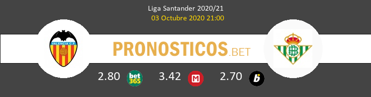 Valencia Real Betis Pronostico 03/10/2020 1