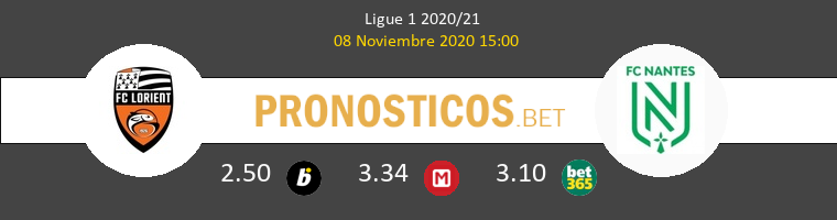 Lorient vs Nantes Pronostico (8 Nov 2020) 1