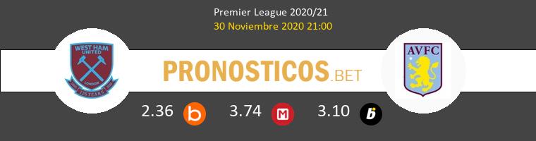 West Ham vs Aston Villa Pronostico (30 Nov 2020) 1