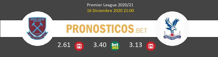 West Ham vs Crystal Palace Pronostico (16 Dic 2020) 1