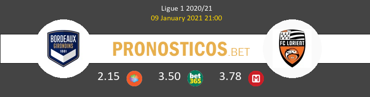 Girondins Bordeaux vs Lorient Pronostico (9 Ene 2021) 1