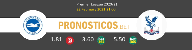 Brighton vs Crystal Palace Pronostico (22 Feb 2021) 1