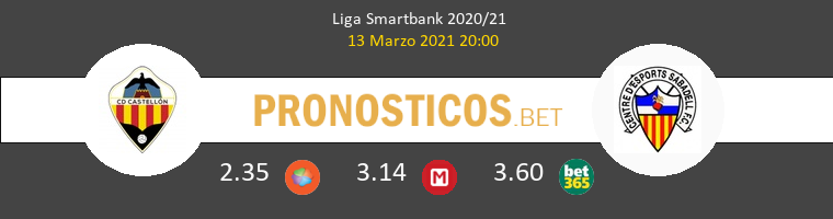 CD Castellón vs Sabadell Pronostico (13 Mar 2021) 1