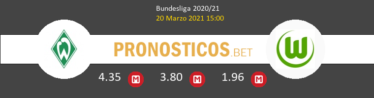 Werder Bremen vs Wolfsburg Pronostico (20 Mar 2021) 1