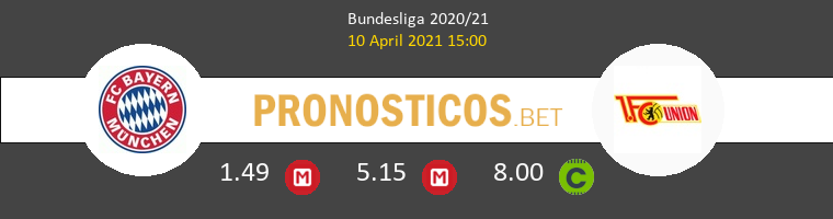 Bayern Munich vs Union Berlin Pronostico (10 Abr 2021) 1