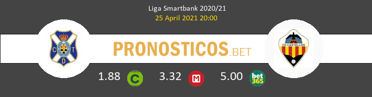 Tenerife vs CD Castellón Pronostico (25 Abr 2021) 1